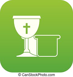Bowl and bread icon digital green