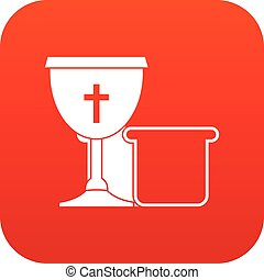 Bowl and bread icon digital red