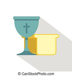 Bowl and bread icon , flat style - Bowl and bread icon. Flat...