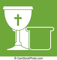 Bowl and bread icon green - Bowl and bread icon white...