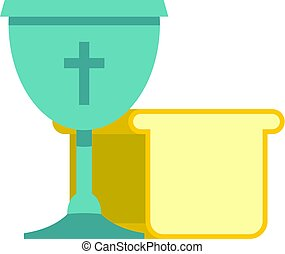 Bowl and bread icon isolated - Bowl and bread icon flat...