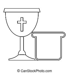 Bowl and bread icon , outline style - Bowl and bread icon....