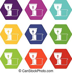 Bowl and bread icon set color hexahedron