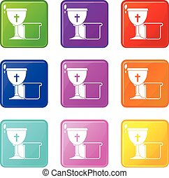 Bowl and bread icons 9 set - Bowl and bread icons of 9 color...
