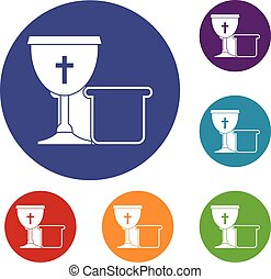 Bowl and bread icons set in flat circle red, blue and green...