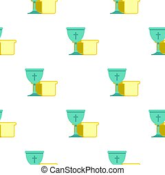 Bowl and bread pattern seamless background in flat style...
