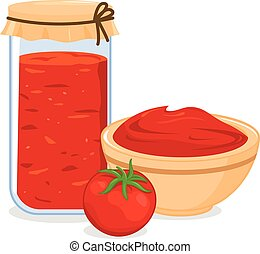 Bowl and jar filled with homemade tomato sauce. Vector illustration