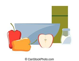 bowl apple pepper salt preparation cooking