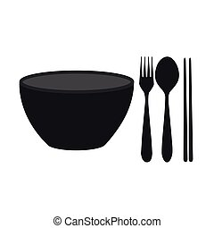 bowl, chopsticks, fork and spoon