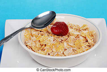 bowl flake cereal with strawberry