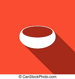 Bowl flat icon with long shadow. Vector Illustration