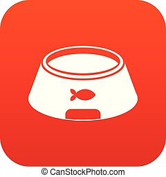 Bowl for animal icon digital red