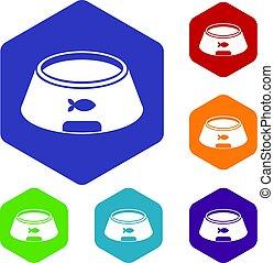 Bowl for animal icons set hexagon