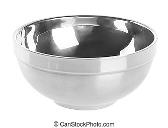 Bowl from stainless steel on background. - Bowl from...