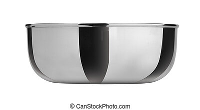 Bowl from stainless steel on white background