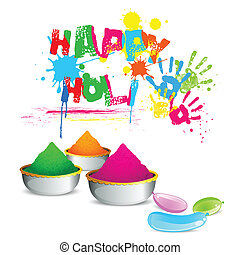 Bowl full of colorful Gulal for Holi background
