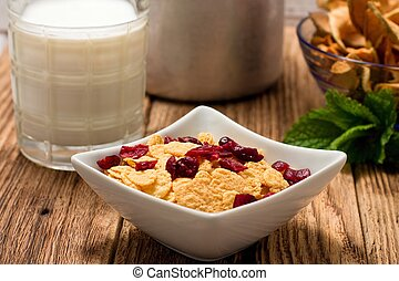 Bowl full of cornflakes with cranberries