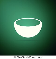 Bowl icon isolated on green background. Flat design. Vector Illustration