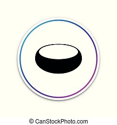 Bowl icon isolated on white background. Circle white button. Vector Illustration