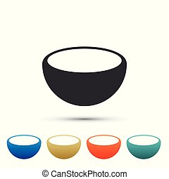 Bowl icon isolated on white background. Set elements in colored icons. Flat design. Vector Illustration
