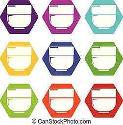 Bowl icons set 9 vector