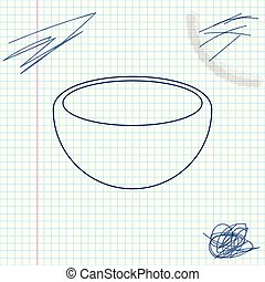 Bowl line sketch icon isolated on white background. Vector Illustration