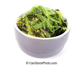 bowl of algae in front of white background