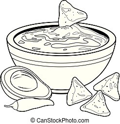 Bowl of avocado guacamole and nachos chips. Vector black and white coloring book page
