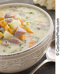 Bowl of Bacon and Corn Chowder with Soda Bread
