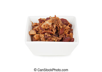 bowl of bacon bits - Bowl of cooked bacon bits for salad mix
