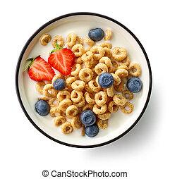 breakfast rings with milk and berries