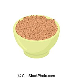 Bowl of buckwheat cereal isolated. Healthy food for breakfast. Vector illustration