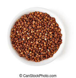 Bowl of buckwheat on white background, top view