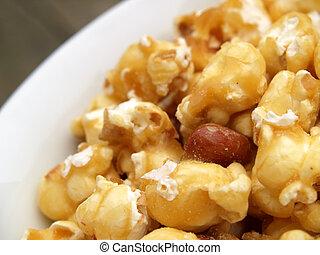 bowl of caramel popcorn
