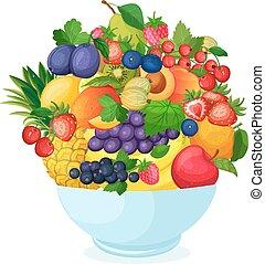 Bowl of cartoon fresh fruit and berries. Apple pear banana...
