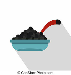 Bowl of caviar with spoon icon, flat style