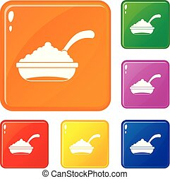 Bowl of caviar with spoon icons set vector color