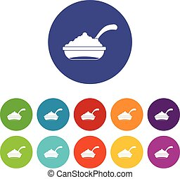 Bowl of caviar with spoon set icons