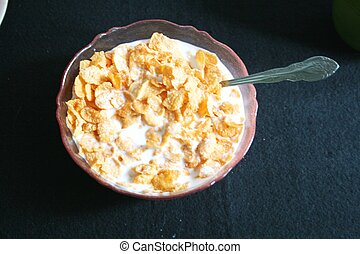 Bowl of cereal and milk