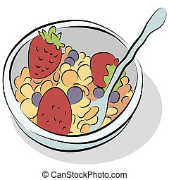 Bowl of Cereal Line Drawing - An image of a bowl of cereal...