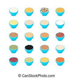 Bowl of cereal set. Rice and lentils. Red beans and peas. Corn and barley gritz. Millet and cuscus. Oat and buckwheat. Bulgur and wheat. Healthy food for breakfast. Vector illustration
