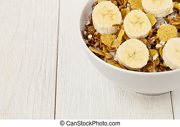 bowl of cereal with banana