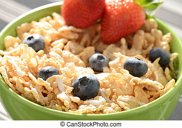 Bowl of Cereal with Blueberries and Strawberries