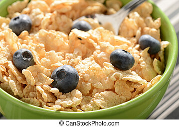 Bowl of Cereal with Blueberries Close Up