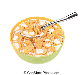 Bowl of cereal with milk. Isolated on a white background.