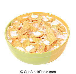 Bowl of cereal with milk