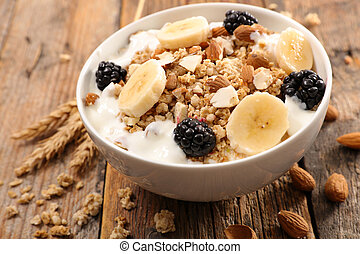bowl of cereals and fruit