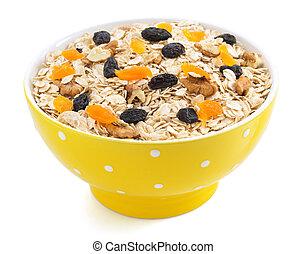 bowl of cereals muesli on white - bowl of cereals muesli...