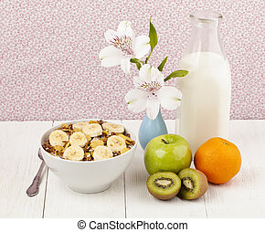 bowl of cereals with fruits and milk