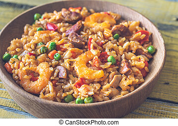 Bowl of chicken and chorizo paella